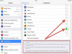 Paso 2 Dentro de localizacion encontramos las apps que acceden a la localizacion que podemos autorizar o no